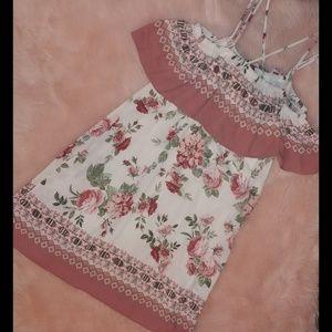 Off shoulder criss cross strap floral dress